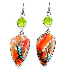 19.42cts multicolor spiny oyster arizona turquoise 925 silver earrings p39627