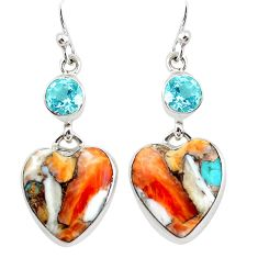 17.48cts multicolor spiny oyster arizona turquoise 925 silver earrings p39628