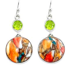 21.27cts multicolor spiny oyster arizona turquoise 925 silver earrings p39632