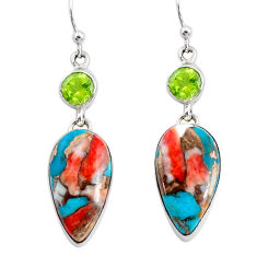 21.24cts multicolor spiny oyster arizona turquoise 925 silver earrings p39635