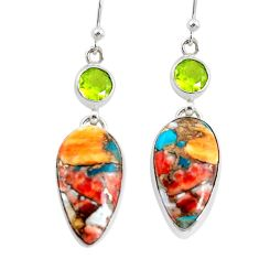 20.55cts multicolor spiny oyster arizona turquoise 925 silver earrings p39641