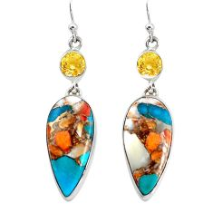 22.91cts multicolor spiny oyster arizona turquoise 925 silver earrings p39642