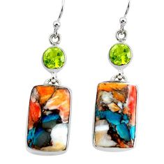 22.33cts multicolor spiny oyster arizona turquoise 925 silver earrings p39649