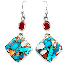 25.45cts multicolor spiny oyster arizona turquoise 925 silver earrings p39653