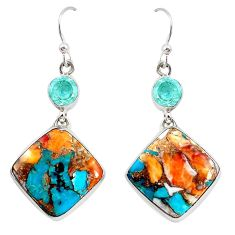 23.97cts multicolor spiny oyster arizona turquoise 925 silver earrings p39655