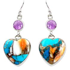 21.35cts multicolor spiny oyster arizona turquoise 925 silver earrings p39656