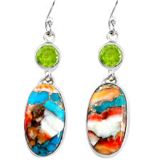 20.93cts multicolor spiny oyster arizona turquoise 925 silver earrings p39659