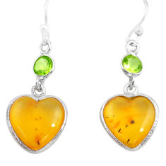 6.20cts natural amber from colombia 925 silver heart love earrings p74101