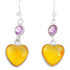 5.15cts natural amber from colombia 925 silver heart love earrings p74106