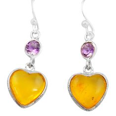 5.65cts natural amber from colombia 925 silver heart love earrings p74107