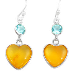 5.60cts natural amber from colombia 925 silver heart love earrings p74110