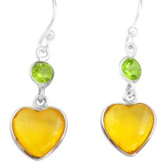 5.67cts natural amber from colombia 925 silver heart love earrings p74111
