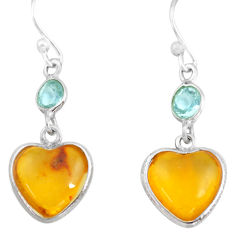5.65cts natural amber from colombia 925 silver heart love earrings p74112