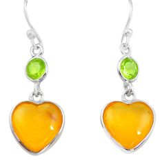 5.22cts natural amber from colombia 925 silver heart love earrings p74113
