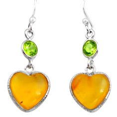 5.70cts natural amber from colombia 925 silver heart love earrings p74115