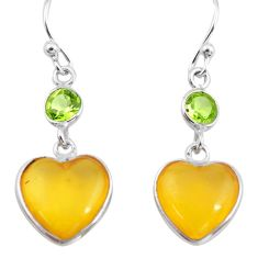 5.62cts natural amber from colombia 925 silver heart love earrings p74117