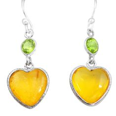 6.15cts natural amber from colombia 925 silver heart love earrings p74119