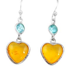 5.62cts natural amber from colombia 925 silver heart love earrings p74120