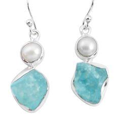 13.24cts natural aqua aquamarine rough pearl 925 silver dangle earrings p51841