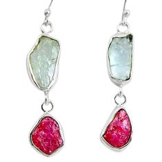 19.72cts natural aqua aquamarine rough ruby rough silver dangle earrings d32367