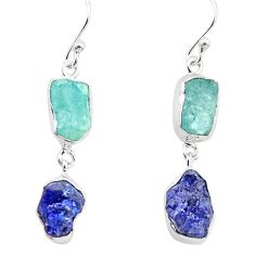 15.55cts natural aqua aquamarine rough sapphire rough 925 silver earrings p73878