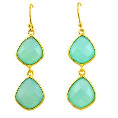 20.74cts natural aqua chalcedony 925 silver 14k gold dangle earrings p75214