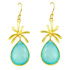 21.48cts natural aqua chalcedony 925 silver 14k gold dangle earrings p75246