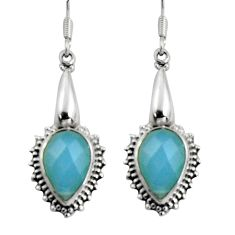 10.02cts natural aqua chalcedony 925 sterling silver dangle earrings d32429