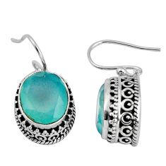 10.54cts natural aqua chalcedony 925 sterling silver dangle earrings p89748