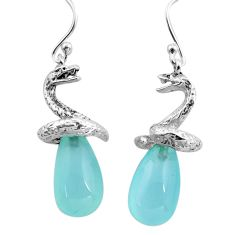 14.12cts natural aqua chalcedony 925 sterling silver snake earrings p84841