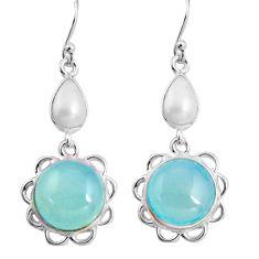 15.34cts natural aqua chalcedony pearl 925 silver dangle earrings p91572
