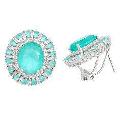 18.47cts natural aqua chalcedony topaz 925 sterling silver stud earrings c1831