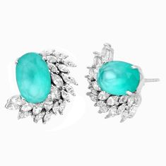 12.52cts natural aqua chalcedony topaz 925 sterling silver stud earrings c1836
