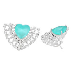 13.84cts natural aqua chalcedony topaz 925 sterling silver stud earrings c1916