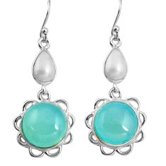 15.34cts natural aqua chalcedony white pearl 925 silver dangle earrings p89281