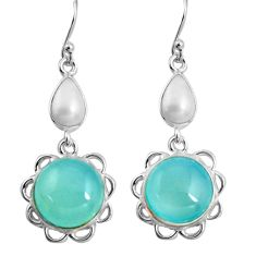 15.34cts natural aqua chalcedony white pearl 925 silver dangle earrings p89282