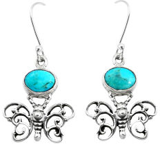 6.83cts natural arizona mohave turquoise 925 silver butterfly earrings p38448