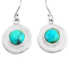 6.39cts natural arizona mohave turquoise 925 silver dangle earrings p85669
