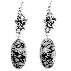 16.73cts natural australian obsidian silver cupid angel wings earrings p91857