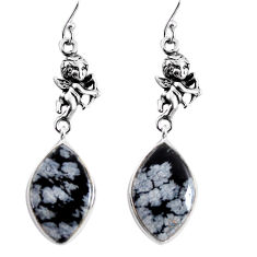 15.93cts natural australian obsidian silver cupid angel wings earrings p91860