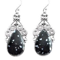 20.62cts natural black australian obsidian 925 silver dangle earrings p72602