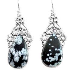 20.33cts natural black australian obsidian 925 silver dangle earrings p72605