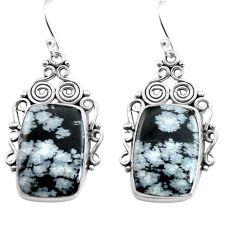 18.94cts natural black australian obsidian 925 silver dangle earrings p72685