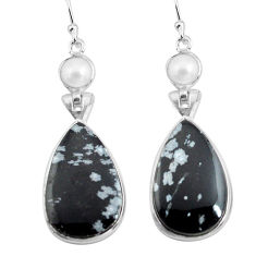 19.18cts natural black australian obsidian 925 silver dangle earrings p78617