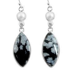 17.35cts natural black australian obsidian 925 silver dangle earrings p78618