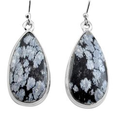 21.48cts natural black australian obsidian 925 silver dangle earrings p88682