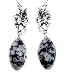 17.22cts natural black australian obsidian 925 silver unicorn earrings p91856
