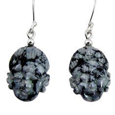 18.21cts natural black australian obsidian silver buddha charm earrings d32388