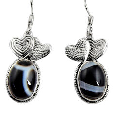 Clearance Sale- 13.46cts natural black botswana agate 925 silver couple hearts earrings d32393