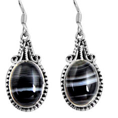 Clearance Sale- 13.34cts natural black botswana agate 925 sterling silver dangle earrings d32453